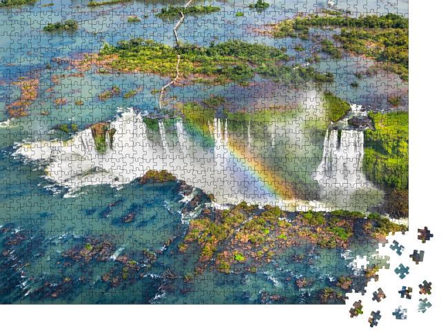 """Puzzle 1000 Teile """"Naturwunder: Iguazu-Wasserfälle aus dem Hubschrauber, Brasilien"""""""
