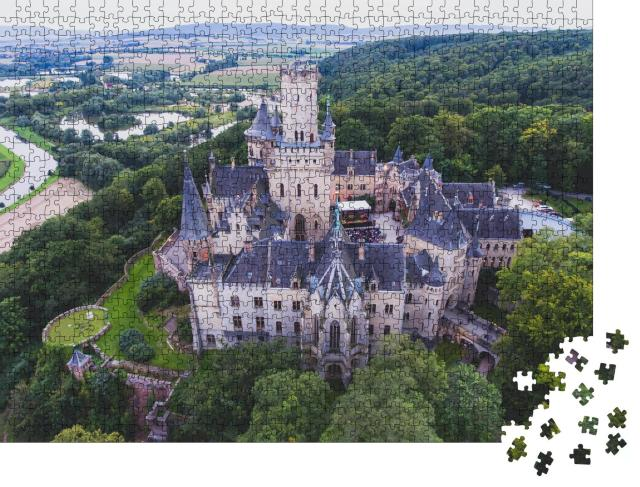 """Puzzle 1000 Teile """"Schloss Marienburg bei Hannover, Luftaufnahme, Niedersachen, Deutschland"""""""