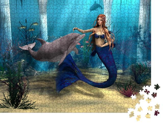 "Puzzle 1000 Teile ""Digitale Kusnt: Meerjungfrau und Delphin im Fantasy-Ozean"""