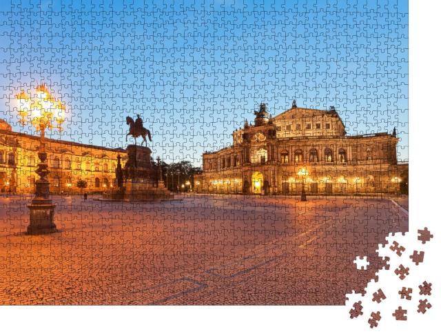 """Puzzle 1000 Teile """"Dresden: Semperoper in der Atmosphäre des Morgens"""""""