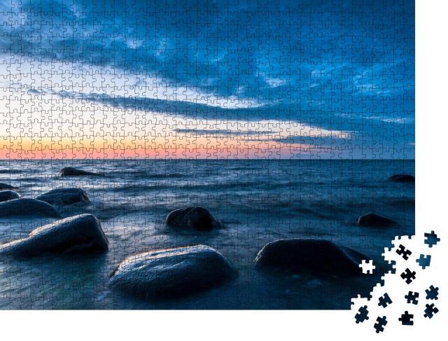 """Puzzle 1000 Teile """"Felsbrocken am Strand, Abendstimmung, Nationalpark Jasmund, Rügen"""""""