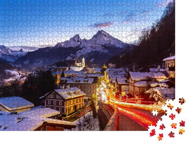"""Puzzle 1000 Teile """"Berchtesgaden, im Hintergrund der Watzmann"""""""