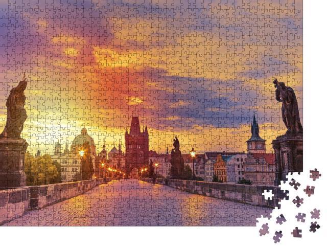 """Puzzle 1000 Teile """"Blick auf die Karlsbrücke in Prag bei Sonnenuntergang"""""""