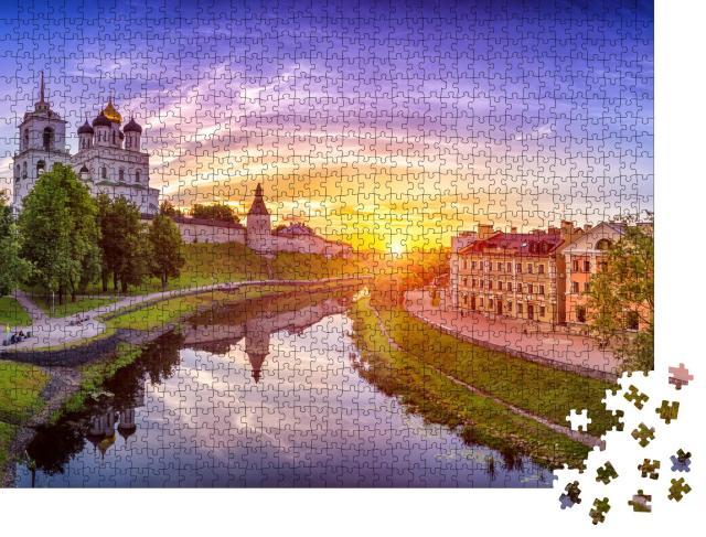 """Puzzle 1000 Teile """"Goldene Kuppel der Dreifaltigkeitskirche, Pskow, Russland"""""""