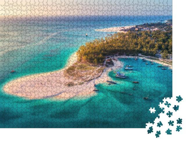 """Puzzle 1000 Teile """"Fischerboote am Strand von Sansibar, Afrika"""""""