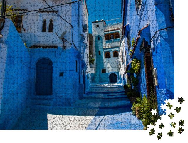 """Puzzle 1000 Teile """"Straßen der blauen Stadt, Chefchaouen in Marokko"""""""