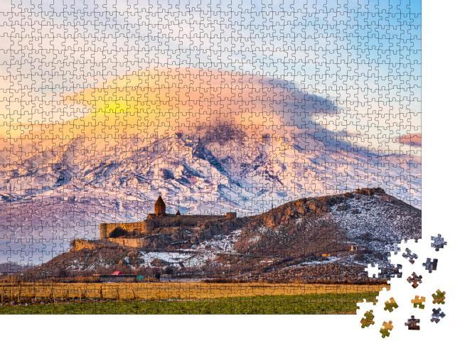 """Puzzle 1000 Teile """"Sonnenaufgang über dem Khor Virap-Kloster und Berg Ararat, Armenien"""""""
