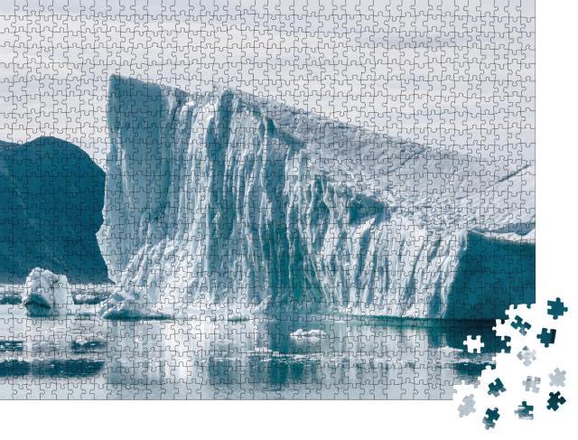 """Puzzle 1000 Teile """"Gletscher und Gletscherlagune mit Wasser und Eis in kalten Blautönen, Island"""""""