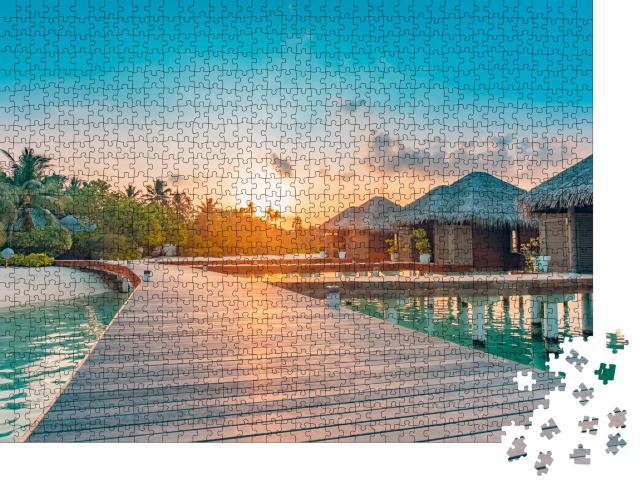 """Puzzle 1000 Teile """"Sonnenuntergang auf den Malediven"""""""