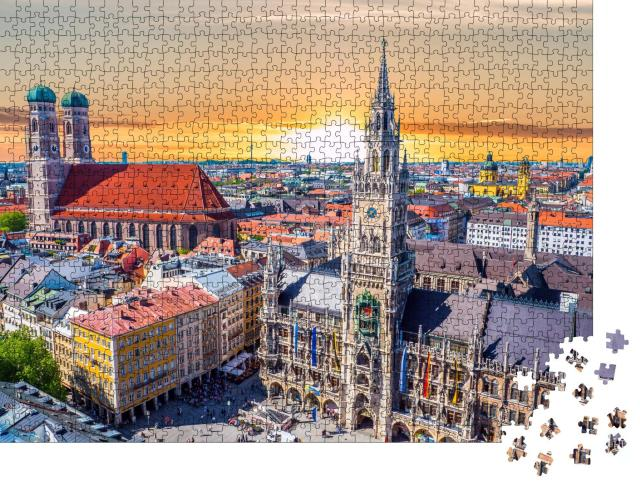 """Puzzle 1000 Teile """"Einfach schön: München bei Sonnenuntergang, Bayern, Deutschland"""""""