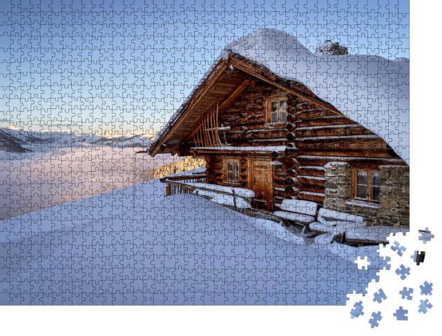 """Puzzle 1000 Teile """"Berghütte im Skigebiet von Saalbach Hinterglemm in den österreichischen Alpen"""""""