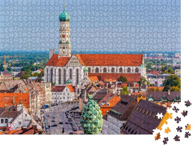 """Puzzle 1000 Teile """"Kathedralen und Stadtansicht von Augsburg, Deutschland"""""""