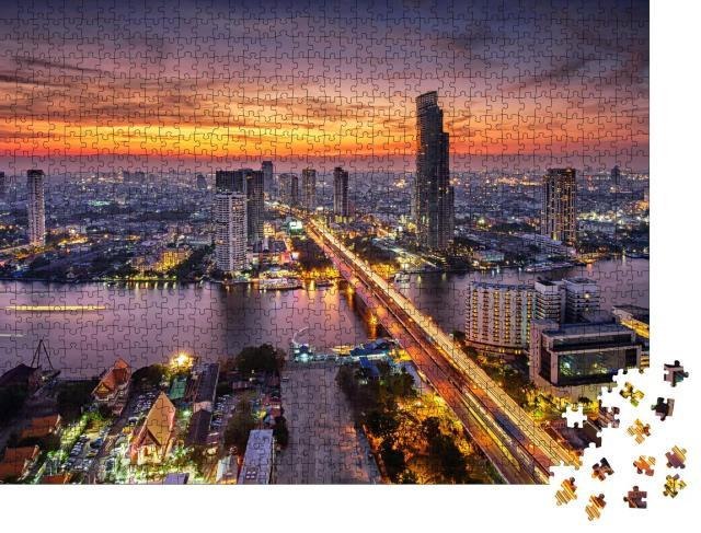 "Puzzle 1000 Teile ""Bangkok bei Sonnenuntergang an der Taksin-Brücke"""