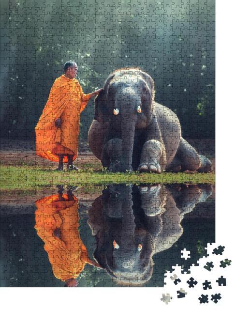 """Puzzle 1000 Teile """"Mönch und Baby-Elefant"""""""