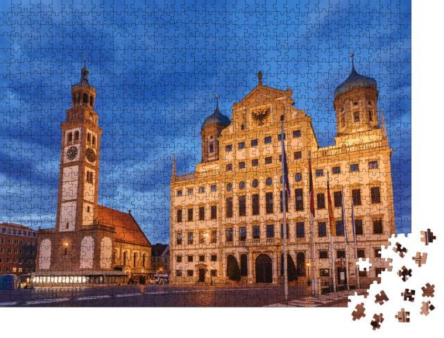 """Puzzle 1000 Teile """"Beleuchteter Perlachturm und Augsburger Rathaus, Deutschland"""""""
