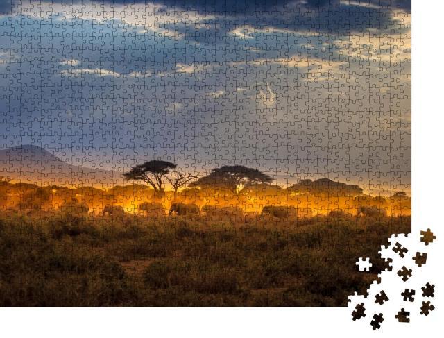 """Puzzle 1000 Teile """"Wanderung der Elefanten am Abend in der afrikanischen Savanne"""""""