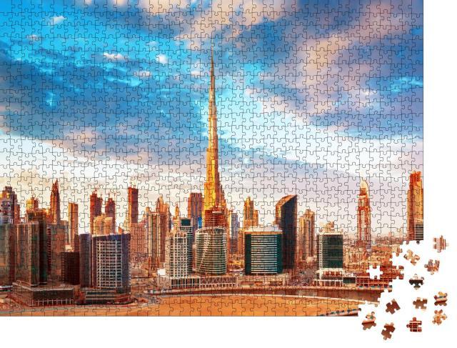 """Puzzle 1000 Teile """"Blick bei Sonnenuntergang auf die Skyline von Dubai"""""""