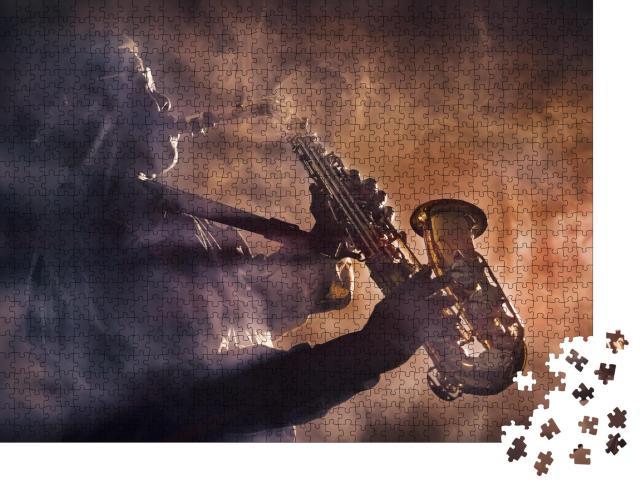 """Puzzle 1000 Teile """"Jazzmusiker mit seinem Saxofon"""""""