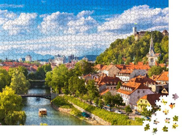 """Puzzle 1000 Teile """"Stadtbild der slowenischen Hauptstadt Ljubljana"""""""