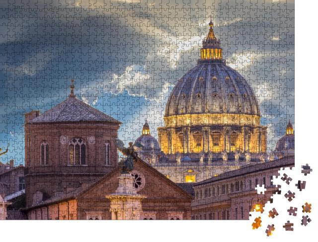 "Puzzle 1000 Teile ""Spektakulärer Sonnenuntergang über der Petersbasilika, Vatikan, Rom"""