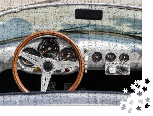 "Puzzle 1000 Teile ""Detailaufnahme des Armaturenbretts eines Vintage-Sportwagens"""