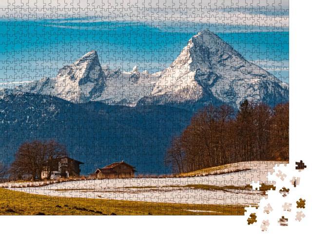 """Puzzle 1000 Teile """"Winterlandschaft am Watzmann, Deutschland"""""""