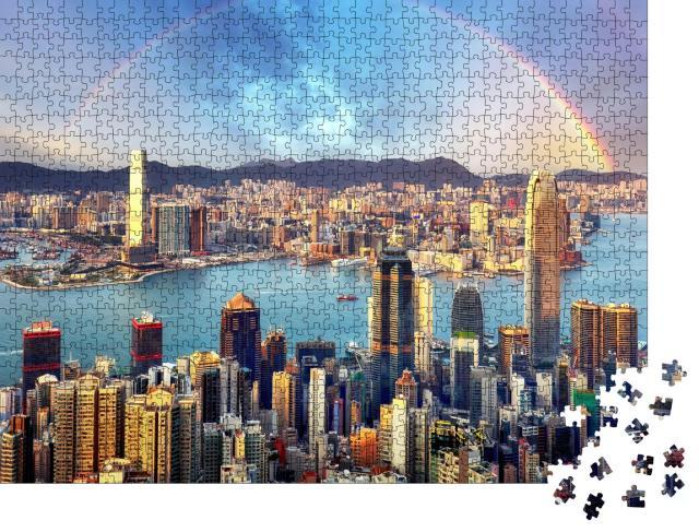 """Puzzle 1000 Teile """"Regenboge über Hongkong"""""""