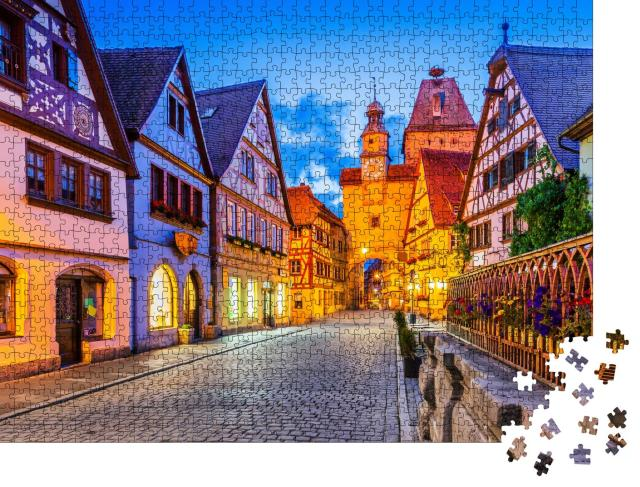 """Puzzle 1000 Teile """"Stadt Rothenburg ob der Tauber bei Nacht"""""""