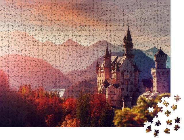 """Puzzle 1000 Teile """"Majestätisches Schloss Neuschwanstein, Bayern, Deutschland"""""""