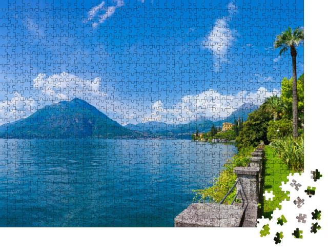 """Puzzle 1000 Teile """"Sonniges Panorama auf den Comer See."""""""
