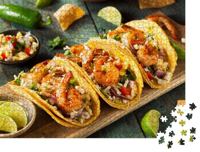 "Puzzle 1000 Teile ""Shrimp-Tacos mit hausgemachter Salsa"""