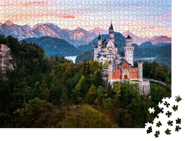 """Puzzle 1000 Teile """"Alpenpanorama mit Schloss Neuschwanstein bei Sonnenaufgang, Bayern"""""""