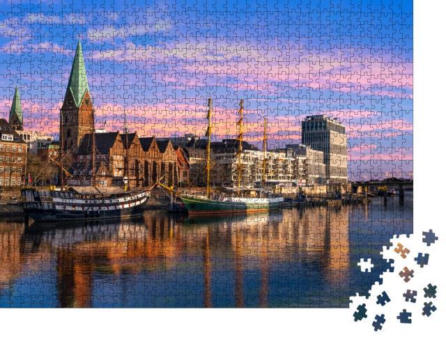 """Puzzle 1000 Teile """"Dreimaster an der Weser-Promenade in Bremen"""""""