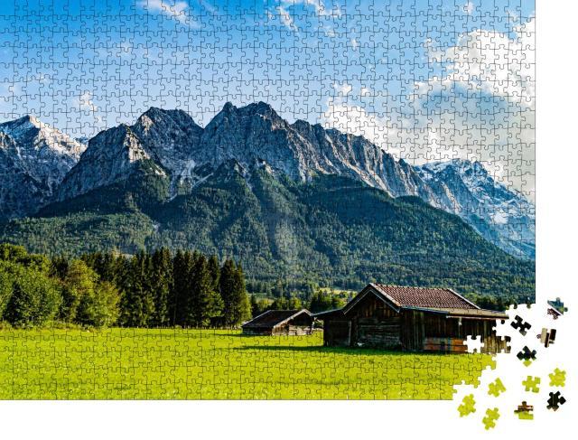 """Puzzle 1000 Teile """"Die Zugspitze von Grainau/Garmisch-Partenkirchen aus gesehen"""""""