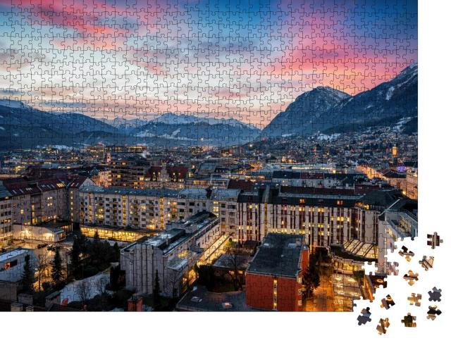 """Puzzle 1000 Teile """"Winterliche Dämmerung in Innsbruck"""""""