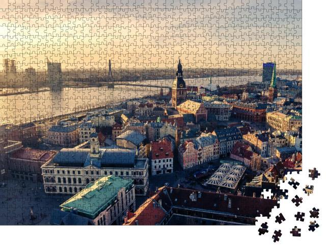 """Puzzle 1000 Teile """"Luftbild-Panoramablick von oben auf die Altstadt von Riga, Lettland"""""""