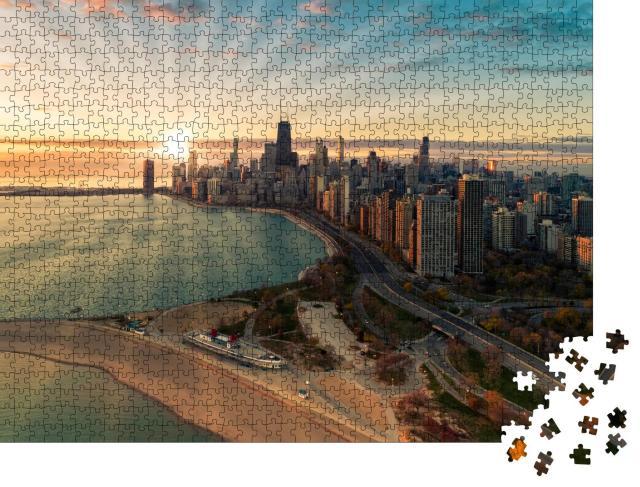 """Puzzle 1000 Teile """"Luftaufnahme von Chicago Downtown: Skyline"""""""