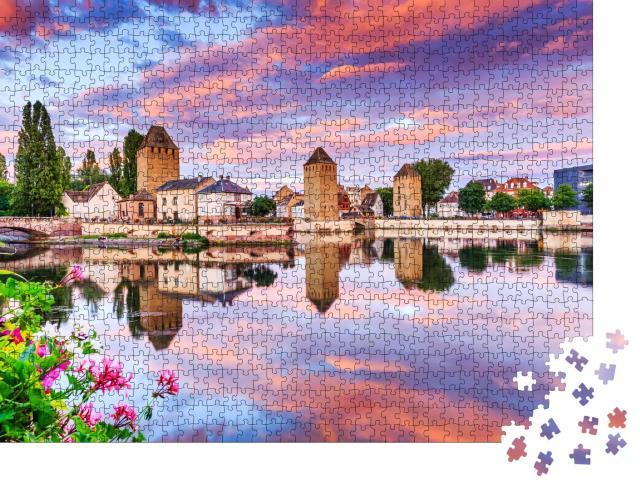 """Puzzle 1000 Teile """"Mittelalterliche Brücke in Straßburg im Elsass"""""""