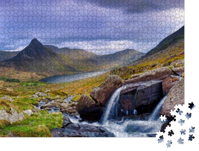 """Puzzle 1000 Teile """"Tryfan im Frühlingsabendlicht, Llyn Ogwen, Wales"""""""