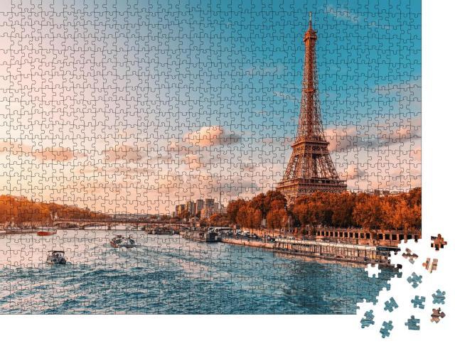 """Puzzle 1000 Teile """"Der Eiffelturm im abendlichen Sonnenlicht"""""""