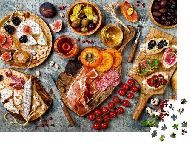 """Puzzle 1000 Teile """"Vorspeisentisch mit italienischen Antipasti"""""""