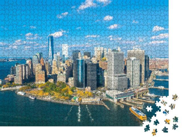 """Puzzle 1000 Teile """"Blick auf Lower Manhattan aus dem Hubschrauber"""""""