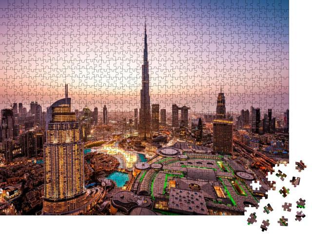 """Puzzle 1000 Teile """"Schöne Skyline von Dubai bei Nacht, Lichter der Stadt"""""""