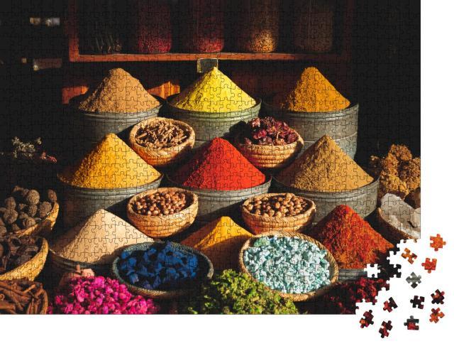 """Puzzle 1000 Teile """"Bunte Gewürze auf einem traditionellen Markt in Marrakesch, Marokko"""""""