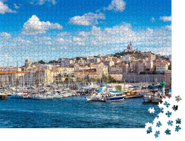 """Puzzle 1000 Teile """"Basilika Notre Dame de la Garde und Hafen, Marseille, Frankreich"""""""