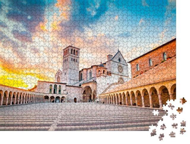 """Puzzle 1000 Teile """"Berühmte Basilika des Heiligen Franz von Assisi, Umbrien, Italien"""""""