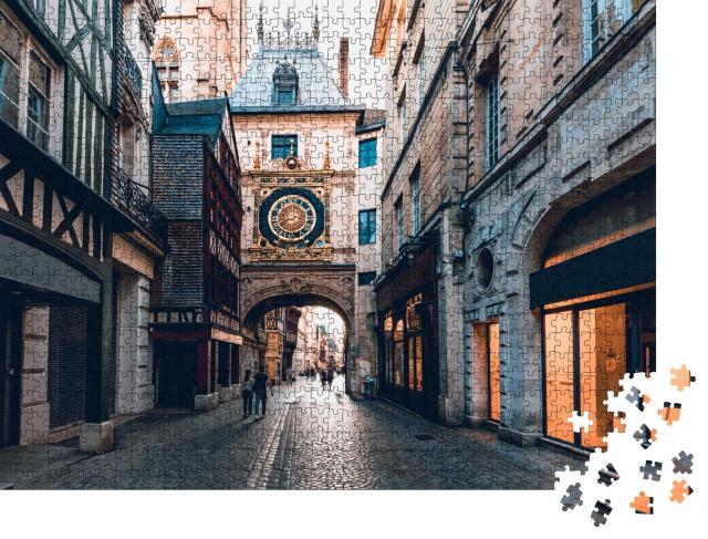 """Puzzle 1000 Teile """"Große Uhr an einer Straße mit Fachwerkhäusern, Rouen, Frankreich"""""""