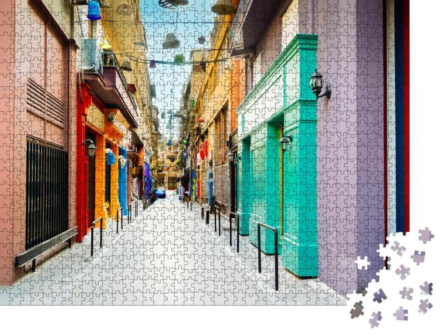 """Puzzle 1000 Teile """"Getöntes Athen: Straße mit Antiquitätengeschäften, Griechenland"""""""