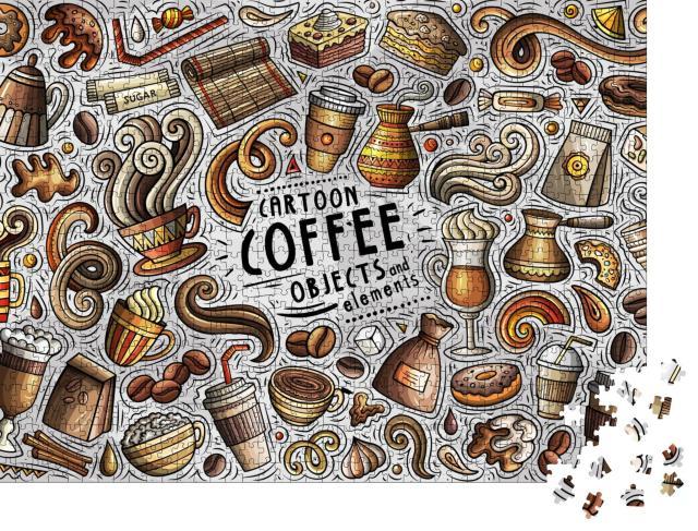 """Puzzle 1000 Teile """"Cartoon-Zeichnung: Kaffeezeit!"""""""