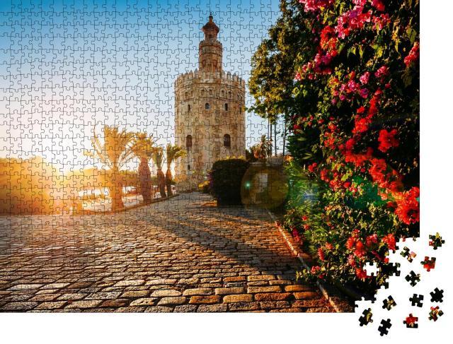 """Puzzle 1000 Teile """"Torre del Oro, Goldener Turm, Sevilla, Spanien"""""""